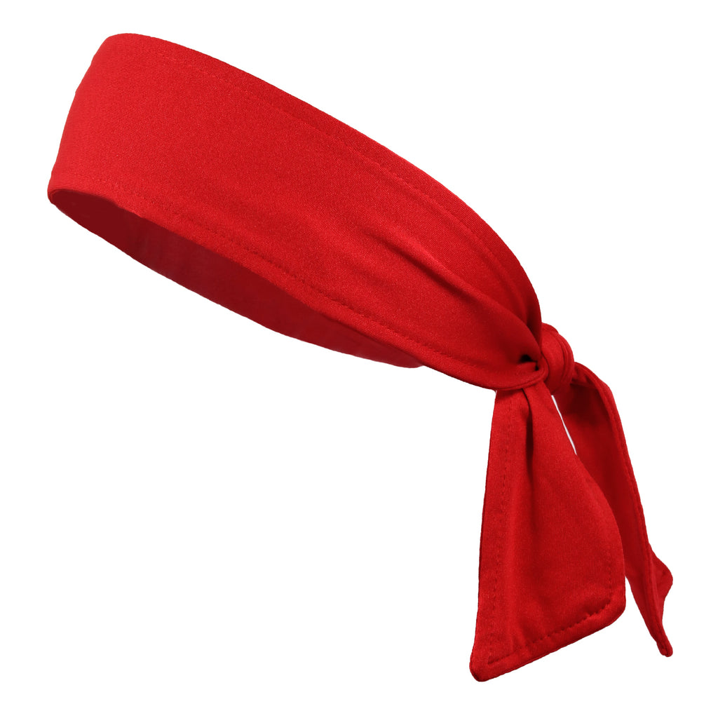 Tie Back Headband Moisture Wicking Athletic Sports Head Band Red