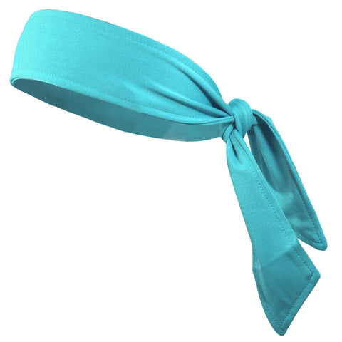 Tie Back Headband Moisture Wicking Athletic Sports Head Band Teal