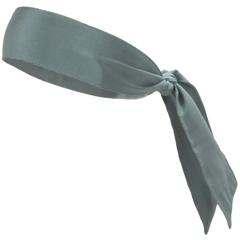 Tie Back Headband Moisture Wicking Athletic Sports Head Band Gray