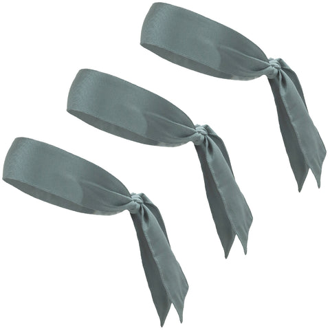 Tie Back Headbands 3 Moisture Wicking Athletic Sports Head Band Gray