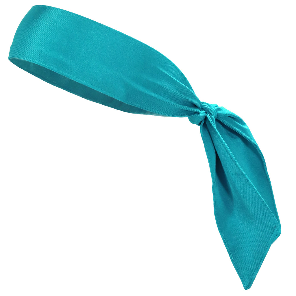 Tie Back Headband Moisture Wicking Athletic Sports Head Band Turquoise