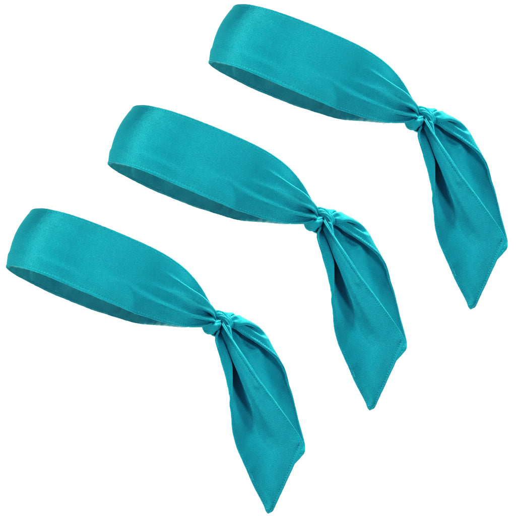 Tie Back Headbands 3 Moisture Wicking Athletic Sports Head Band Turquoise