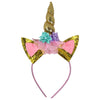 1 Unicorn Headband for Girls Kids with Gold Horn Ears Glitter Flowers