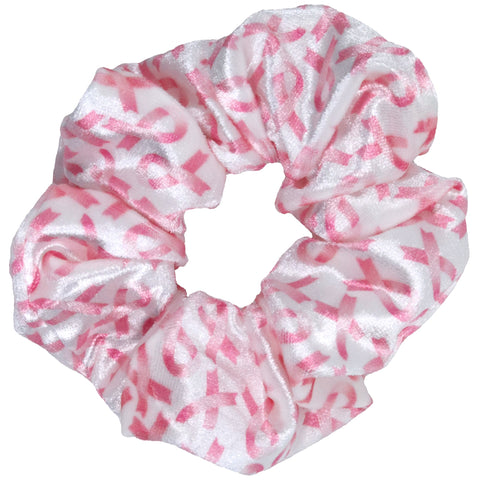 Velvet Scrunchies Breast Cancer Awareness Scrunchie Ponytail Holder