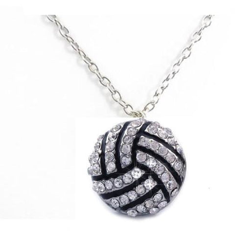 Volleyball Necklace Rhinestone