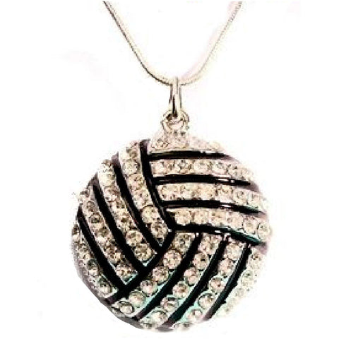 Volleyball Necklace Rhinestone LARGE