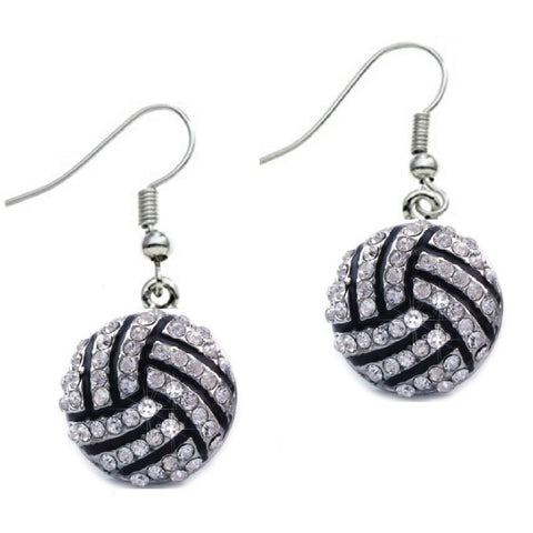 Volleyball Hook Earrings Rhinestone