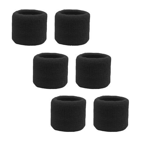 Sweatband for Wrist Terry Cotton Wristbands 6 Black