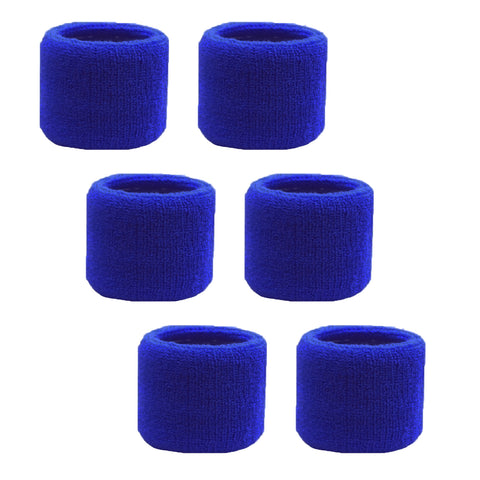 Sweatband for Wrist Terry Cotton Wristbands 6 Blue