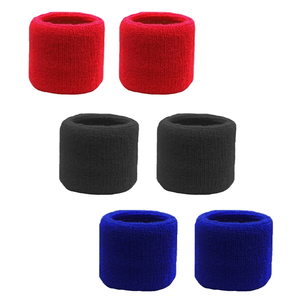 Sweatband for Wrist Terry Cotton Wristbands 6 Black, Red, Blue