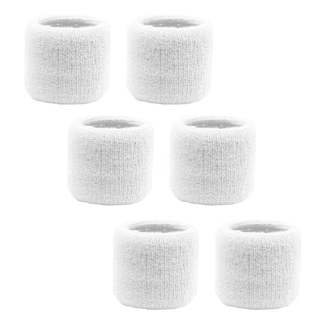 Sweatband for Wrist Terry Cotton Wristbands 6 White