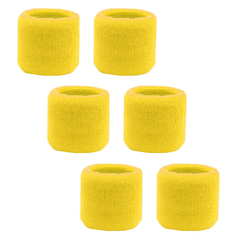 Sweatband for Wrist Terry Cotton Wristbands 6 Yellow