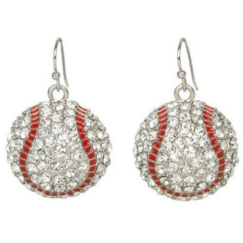 Baseball Hook Earrings Crystal Rhinestone