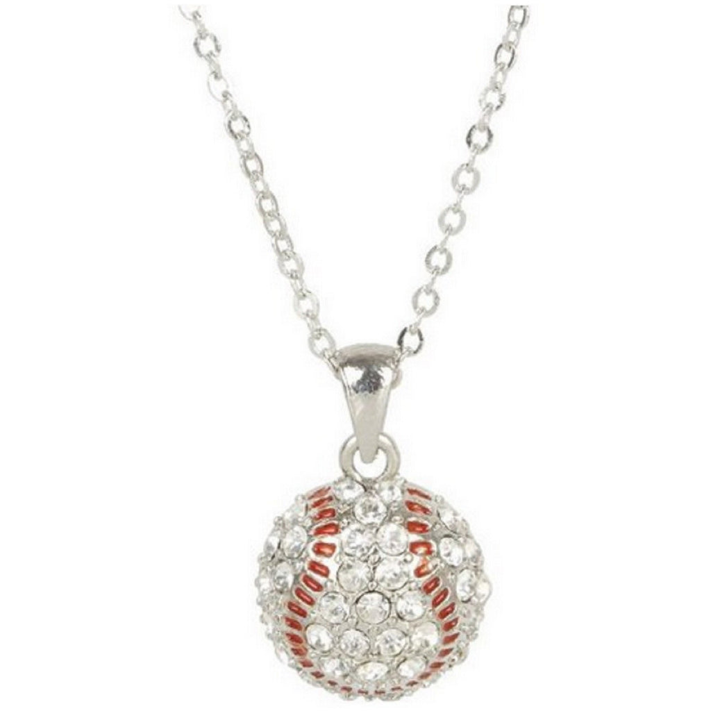 Baseball Necklace Crystal Rhinestone