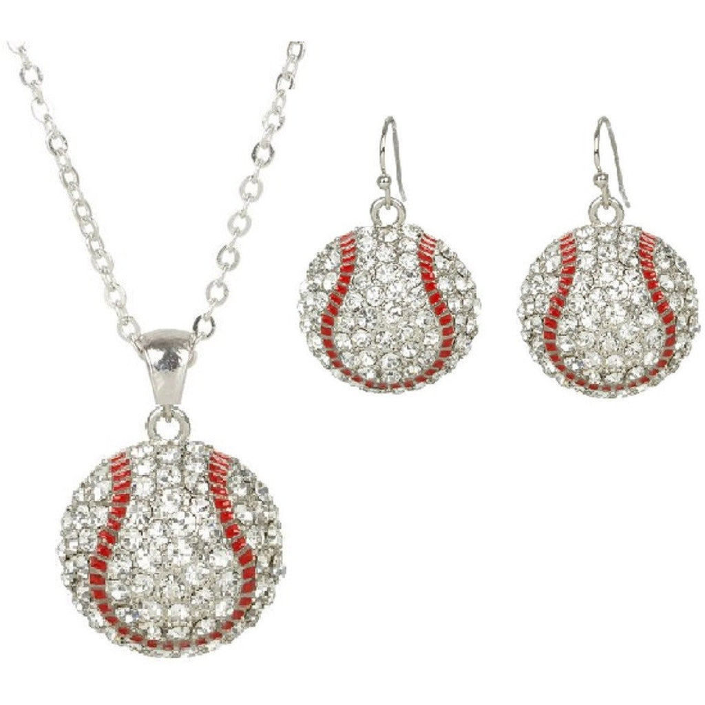 Baseball Set Rhinestone Necklace and Hook Earring Set