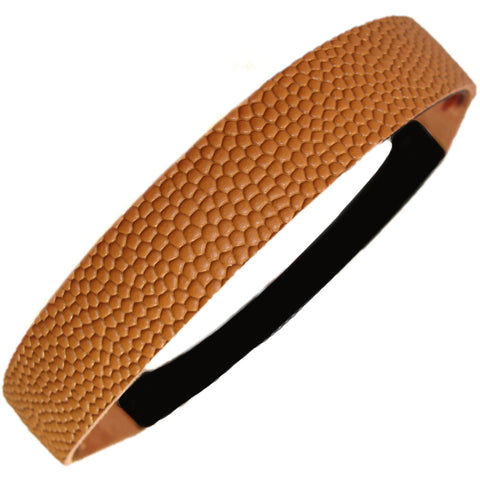 Leather Basketball Headband Brown