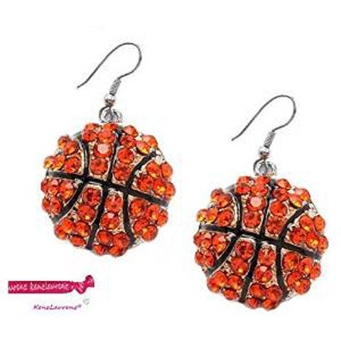 Basketball Hook Earrings Crystal Rhinestone