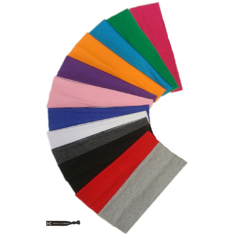 Wide Cotton Headbands 12 Soft Stretch Headband Sweat Absorbent Elastic Head Bands Assorted