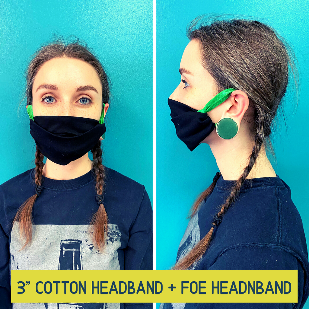 DONATE a Face Mask 3 Inch Cotton Outdoor Indoor Bandada Wide Buff Running Workout Yoga Band You Pick Colors