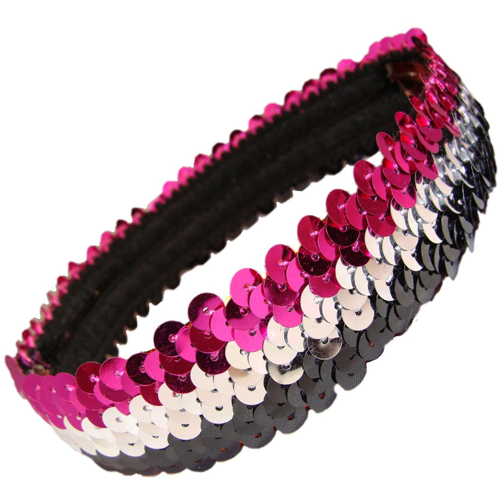 Sequin Headband Girls Headbands Sparkly Hair Head Bands Black Silver Pink