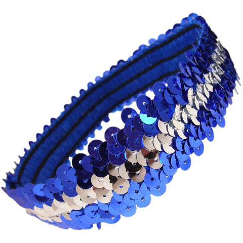Sequin Headband Girls Headbands Sparkly Hair Head Bands Blue Silver