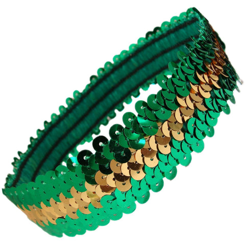 Sequin Headband Girls Headbands Sparkly Hair Head Bands Green Gold