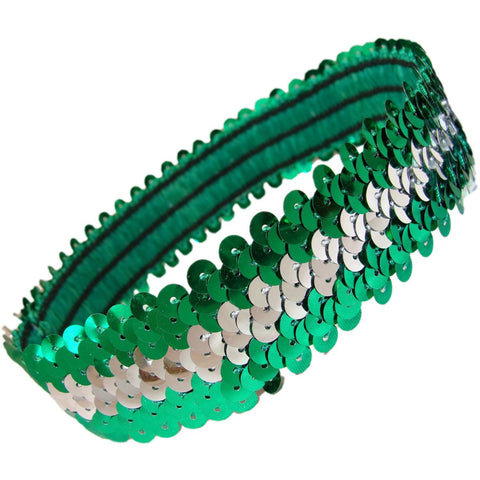 Sequin Headband Girls Headbands Sparkly Hair Head Bands Green Silver