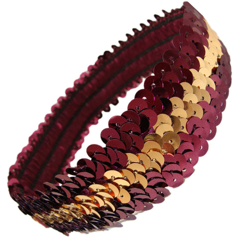 Sequin Headband Girls Headbands Sparkly Hair Head Bands Maroon Gold