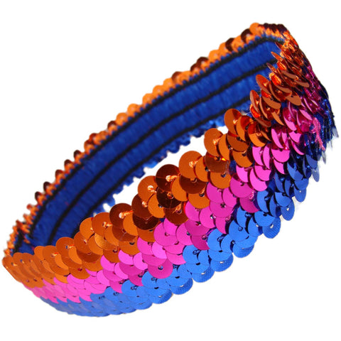 Sequin Headband Girls Headbands Sparkly Hair Head Bands Orange Pink Blue