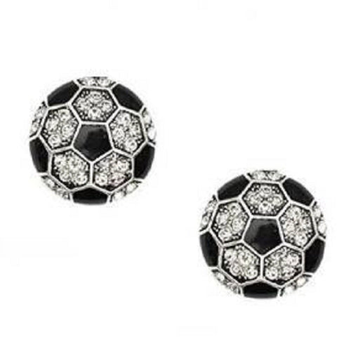 Soccer Post Earrings Crystal Rhinestone