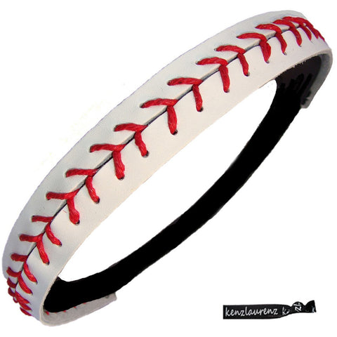 Kenz Laurenz Baseball Headband Non Slip Leather Sports Head Bands White Red