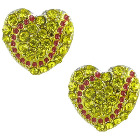 HEART Softball Earrings Post Earrings Rhinestone Jewelry