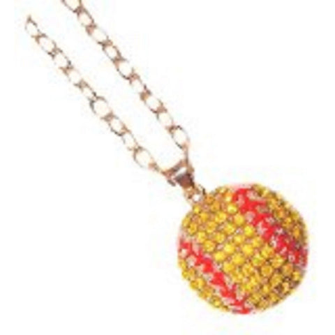 Softball Necklace Crystal Rhinestone