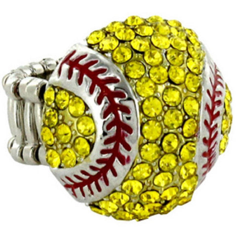 Softball Ring Crystal Rhinestone
