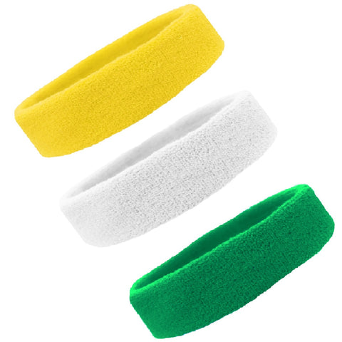 Sweatbands Terry Cotton Sports Headband Sweat Absorbing Head Band Yellow White Green 3