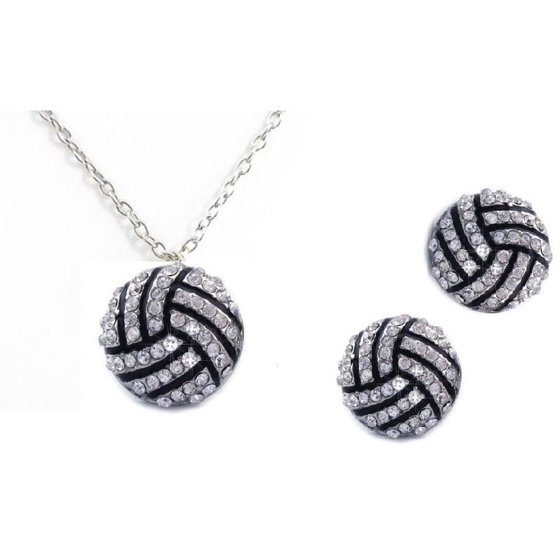 Volleyball Set Post Earrings Necklace Rhinestone
