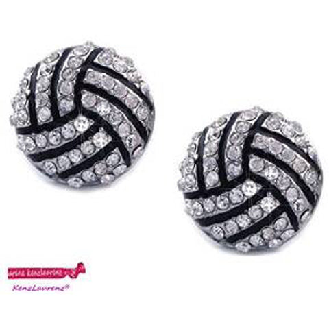 Volleyball Post Earrings Crystal Rhinestone