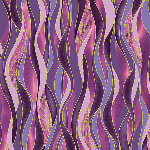 Dance of the Dragonfly Dancing Waves fabric plum