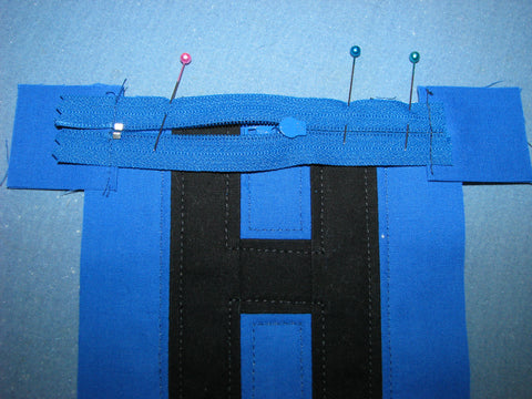 installing the zipper on quilted pouch