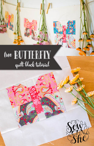 Sew Can She Butterfly Quilt Block Tutorial