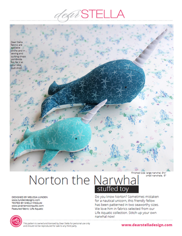 Dear Stella Norton the Narwhal sewing pattern link