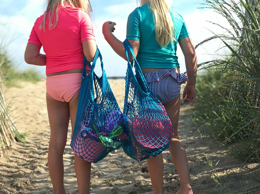 Sea Blue Mesh-Netting Tote