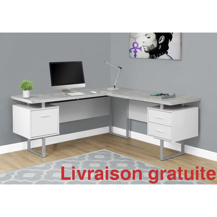 "Bureau 70"" en L  blanc , simili ciment /  Computer, Office desk - Sports500.com"