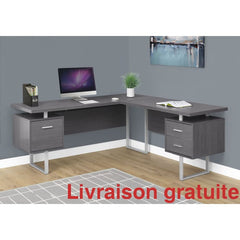 "Bureau 70"" en L , Gris  /  Computer, Office desk - Sports500.com"