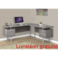 "Bureau 70"" en L , Taupe foncé /  Computer, Office desk - Sports500.com"