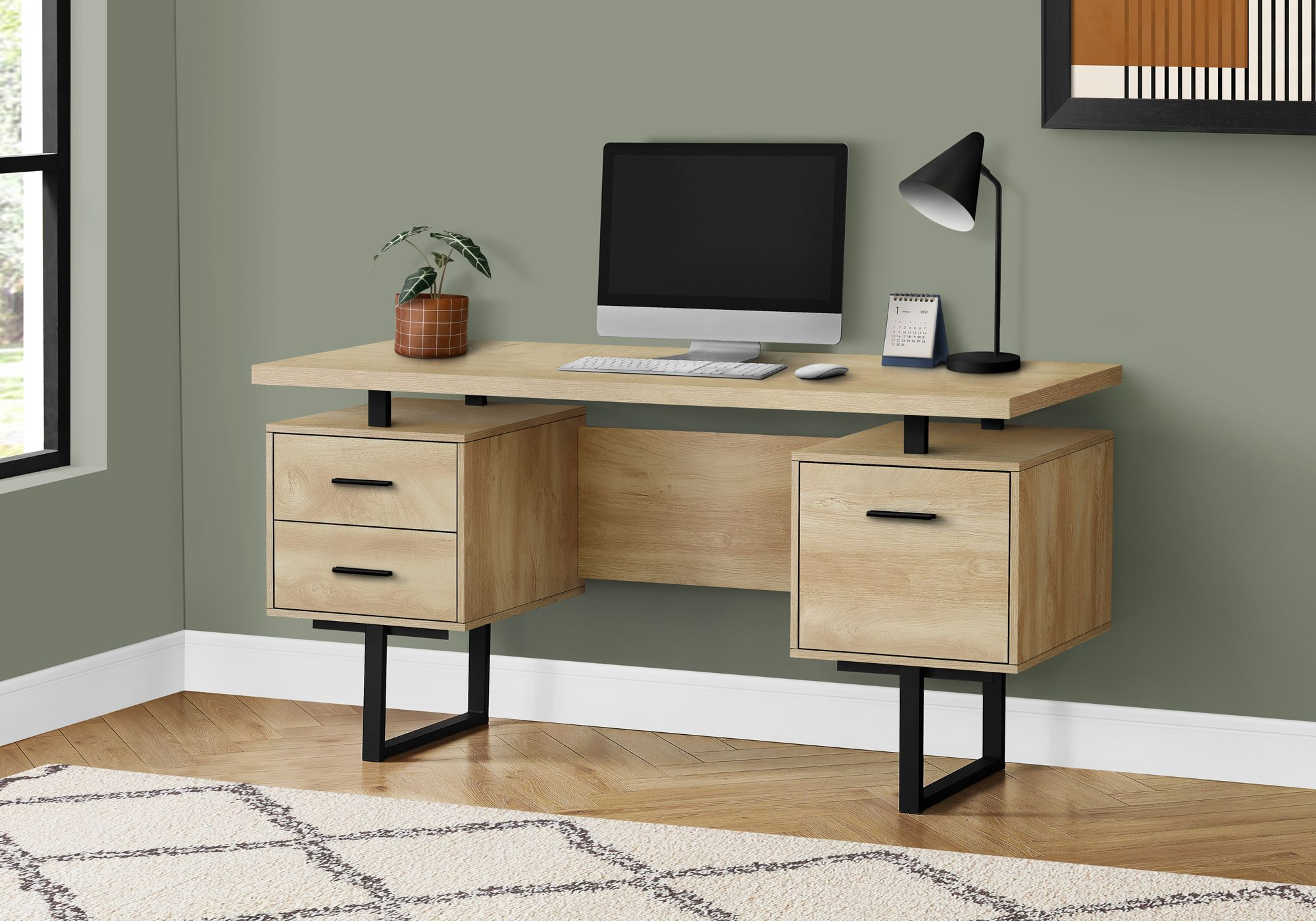 "BUREAU - 60""L / NOYER / METAL NOIR - Sports500"