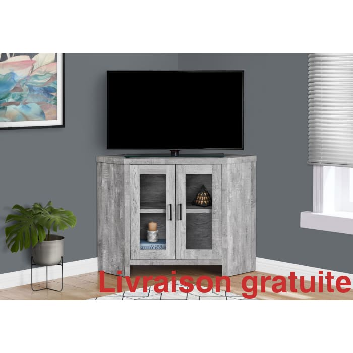 Meuble de télévision en coin  /  grey Corner TV Stand - Sports500.com