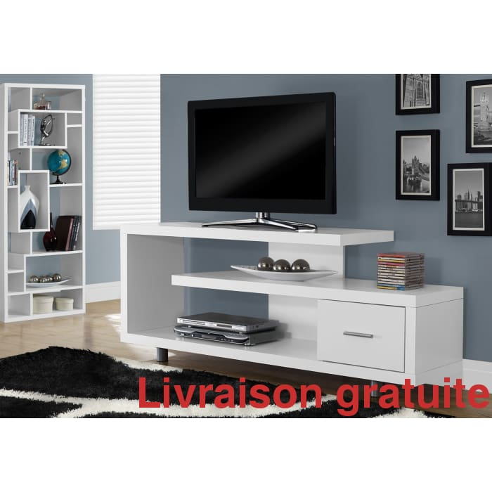 "Meuble télé 60""L  /  TV STAND - 60""L / WHITE WITH 1 DRAWER - Sports500.com"