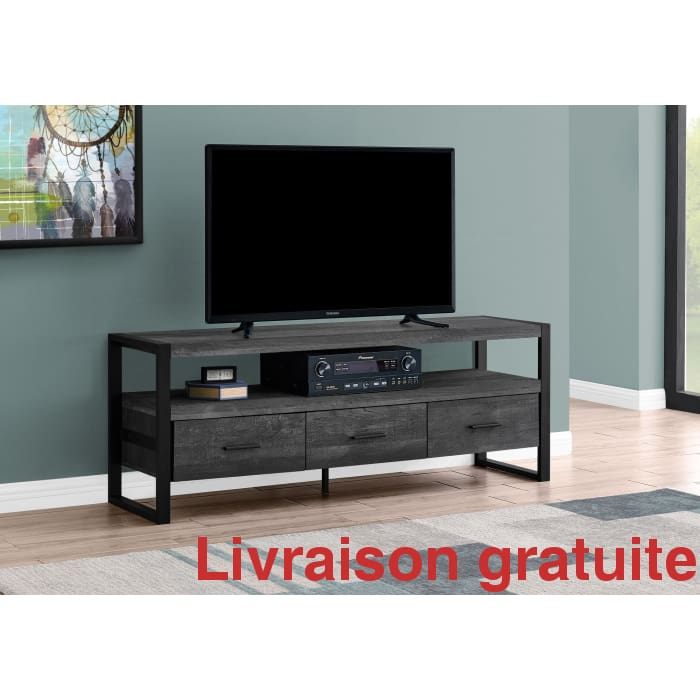 "MEUBLE TV - 60"" Large /  Black Reclaimed Wood-Look"