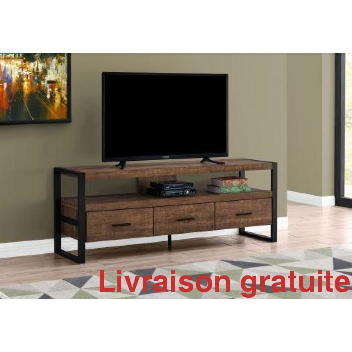 "MEUBLE TV - 60""Largeur  /  60""L BROWN RECLAIMED WOOD-LOOK"